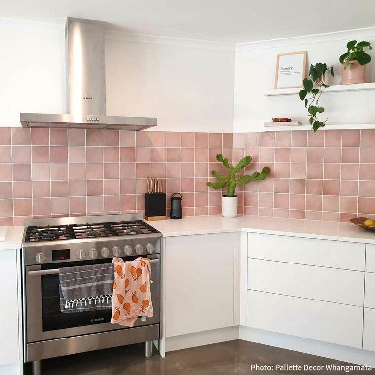 Magma Coral Pink Tiled Kitchen Splashback