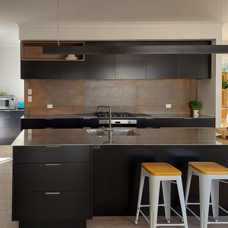 Kitchen splashback steel corten