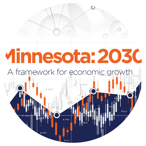 """The Minnesota Chamber Foundation released a report entitled, """"Minnesota: 2030, a framework for economic growth."""" This report details the characteristics of Minnesota's economy, the impacts of 2020 on Minnesota and its regions, and provides a 10-year outlook recommending key strategies for the state's long-term economic success."""