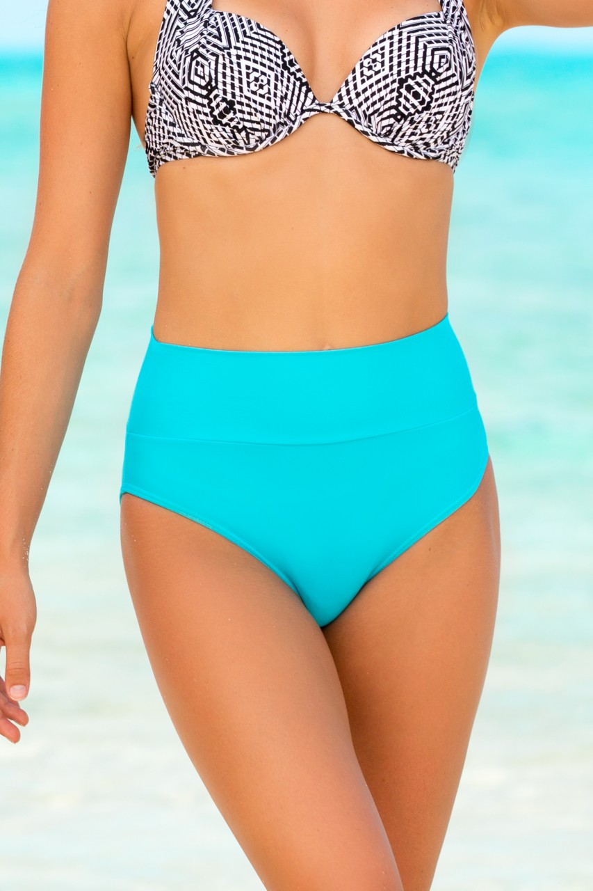 45140c5822 Turquoise High Waisted Swim Bottoms