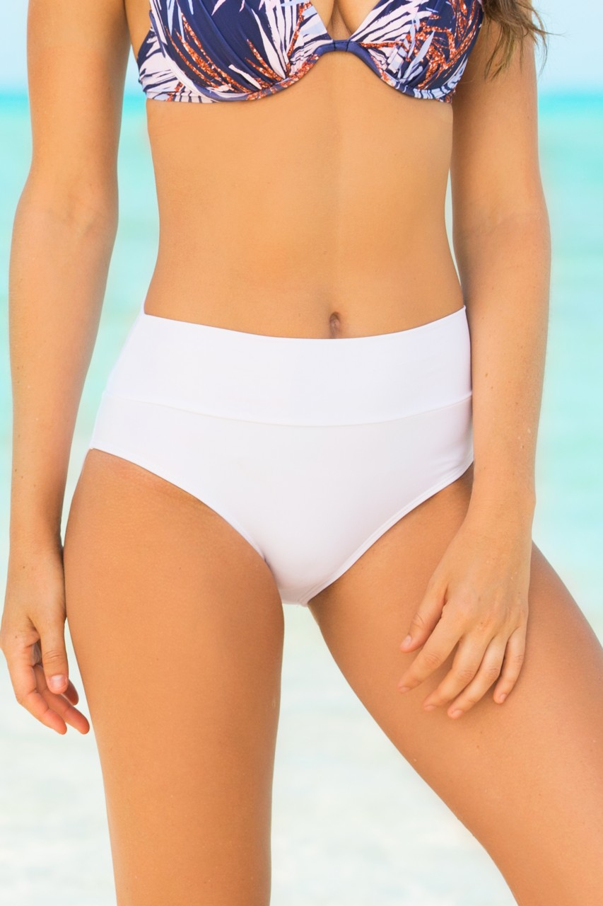 2447d75d8cd8 White Tummy Tuk High Waisted Swim Bottoms | HAPARI