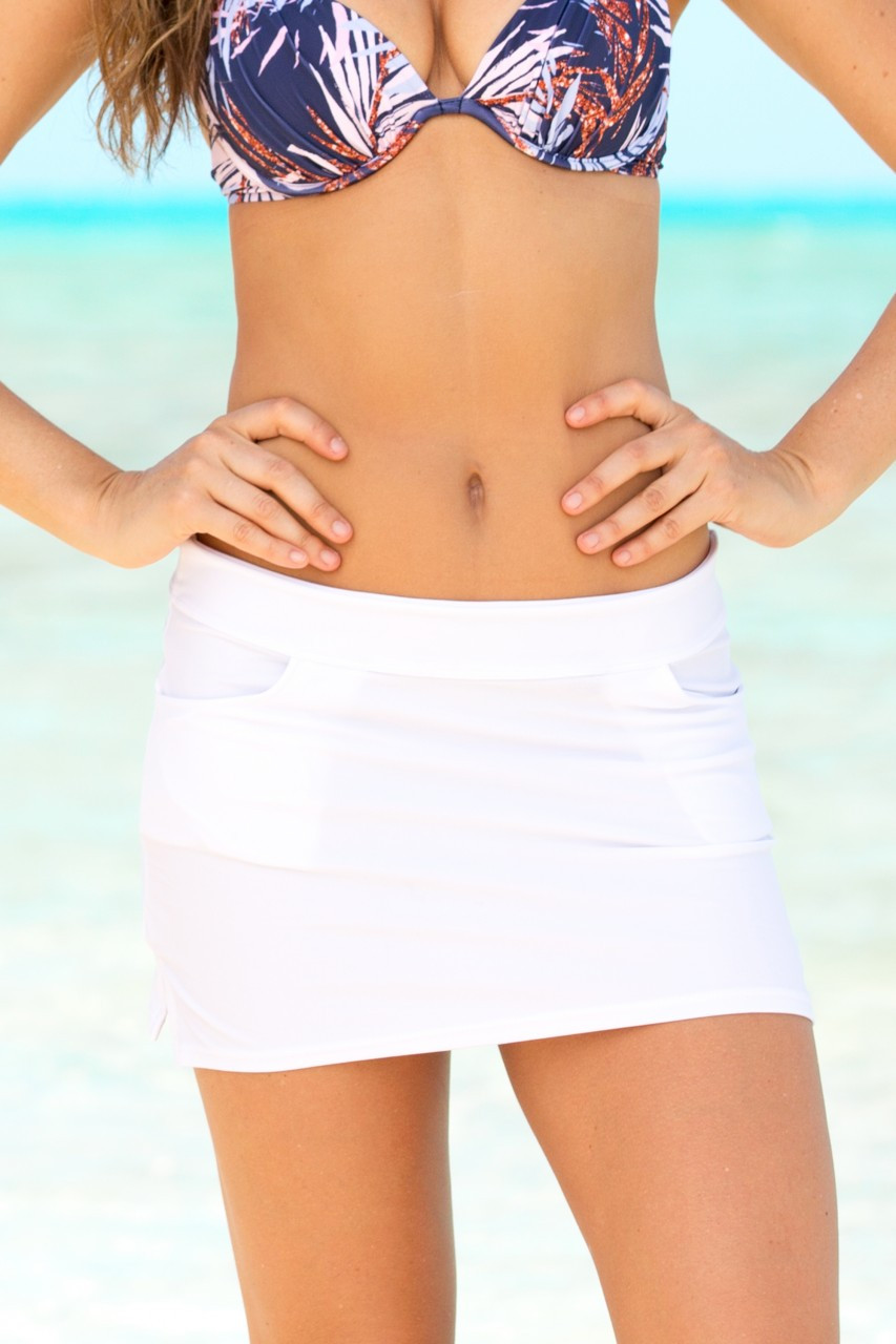 Hapari White Straight Swim Skirt