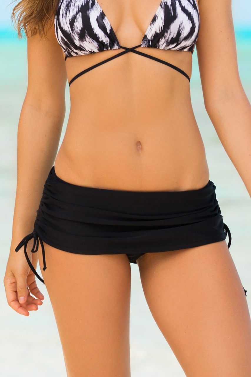Hapari Black Drawstring Swim Skirt with Bottom