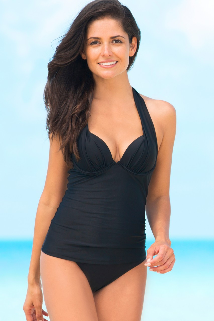 Hapari Black Push-Up Tankini Top