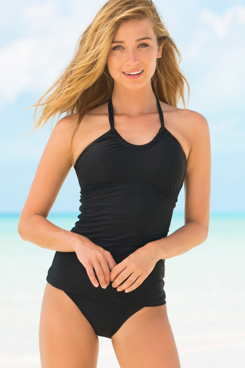 Hapari Black Scoop Tankini Top