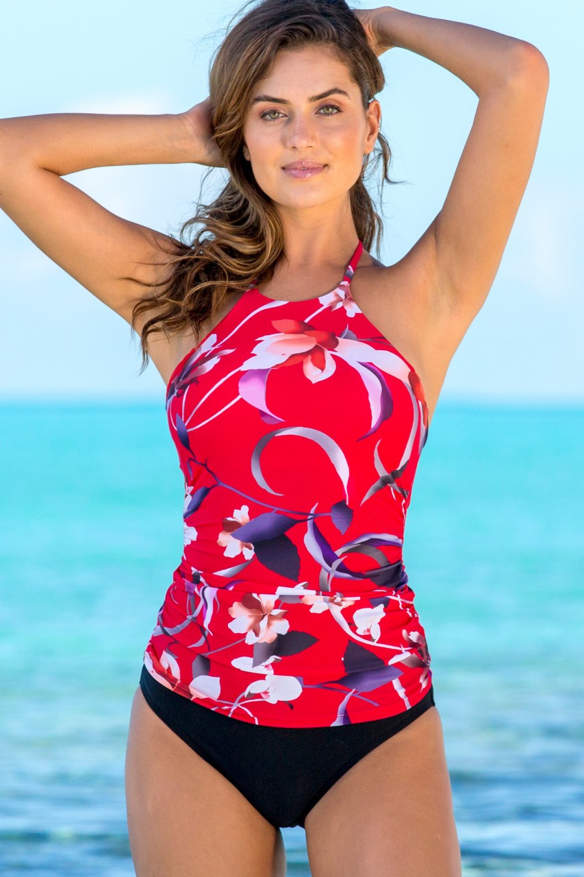 Hapari Chinoiserie High-Neck Strappy Tankini Top