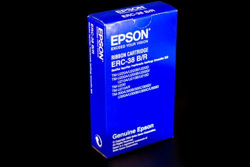 Genuine Epson Black/Red Print Ribbon (ERC-38BR), 1 Ribbons