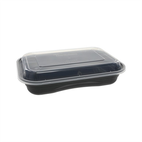 Pactiv Versa2Go 27 oz Black Rectangle Combo Container | 150 per Case
