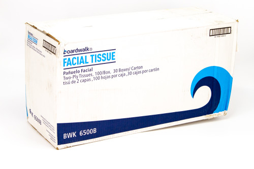 Boardwalk Office Packs 2-Ply Facial Tissue, 100 Sheets/Box, 30 Boxes (BWK6500B)