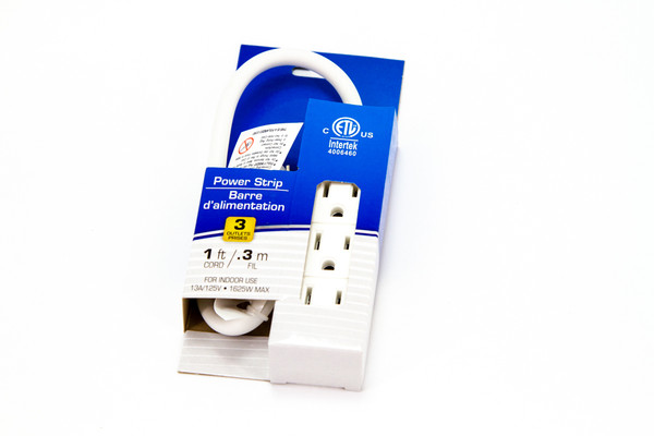 1ft Cord 120 Volt Power Strip with 3 Outlets