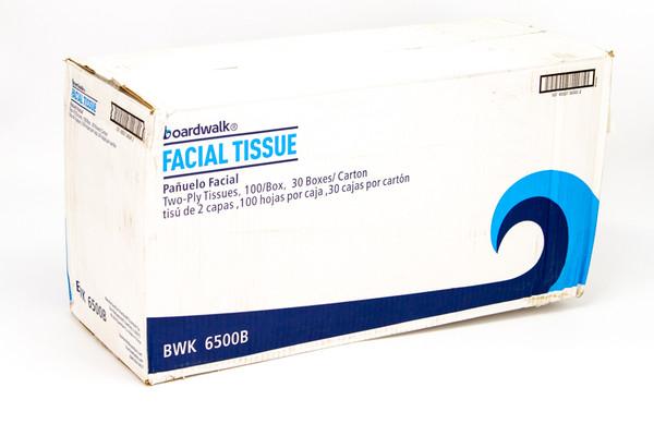Boardwalk Office Packs 2-Ply Facial Tissue, 100 Sheets/Box, 30 Boxes (BWK6500B)