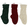 """3pk Woolen Yarn Stocking Holiday Classic Solid Color Christmas Knit Stockings Wht Red Grn 13"""" Small"""