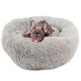 Pet Bed Plush Comfy Calming Self Warming Washable Cat Dog Fluffy Dream Cloud Gray Small