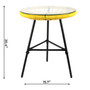 Rattan Wicker Style Outdoor Chair Matching Table Lightweight Durable Set Yellow