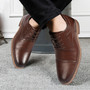 Men's Oxford Derby Lace Up Shoes Dark Brown