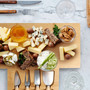 Bamboo Cheese Board Set, Wooden Charcuterie Board Serving Platter with Knife Set, for Wine, Cheese, Meat, Fruit, Vegetable (7.5 x 15.5)