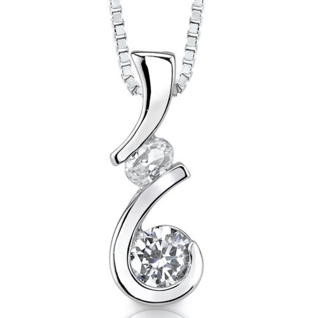 Beautiful Sterling silver 925 sterling Sterling Silver Rhodium-plated w//Pink /& White CZ Oval Pendant