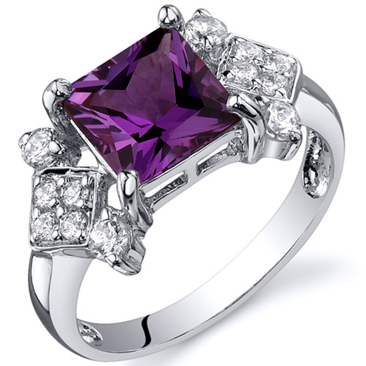 Princess Cut 3.25 cts Pink Sapphire Ring Sterling Silver Sizes 5 to 9