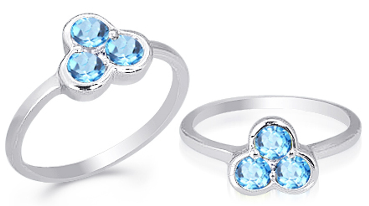 2.57 Carat Genuine Blue Topaz and White Topaz .925 Sterling Silver Ring