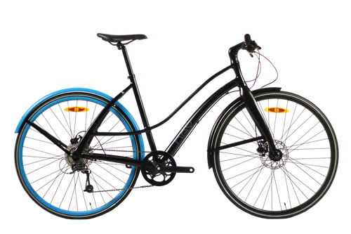 Hey Cycle Disc9 – 9 Speed Bicycle – Matte Black + Sky Blue