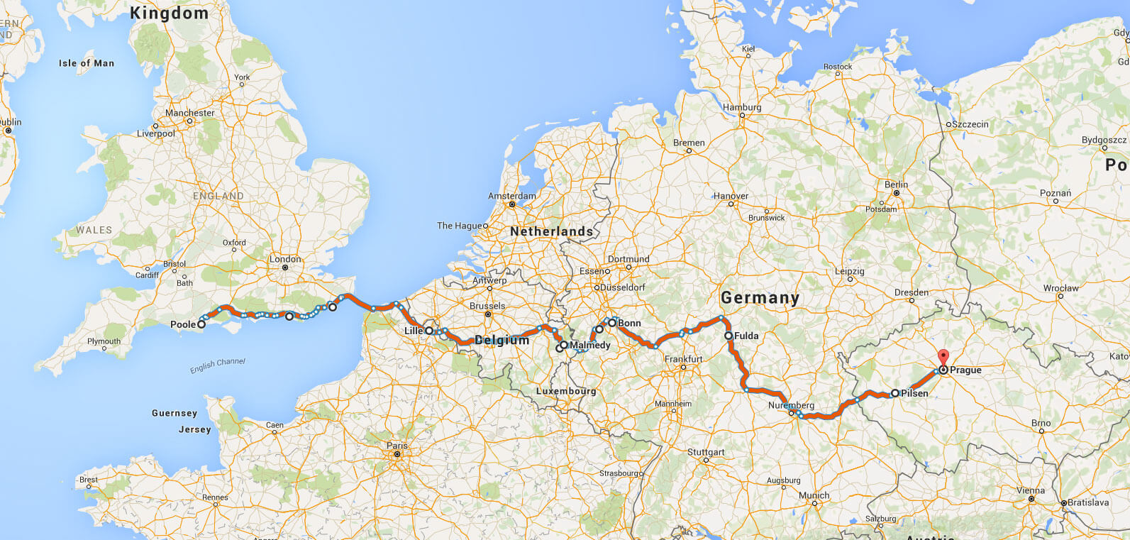 poole-to-prague-map