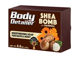 SHEA BOMB bath soap is an explosion of moisture rich Shea butter enriched with organic Calendula flower extract and organic Argan oil, simply put, its the best bar of soap in the world.