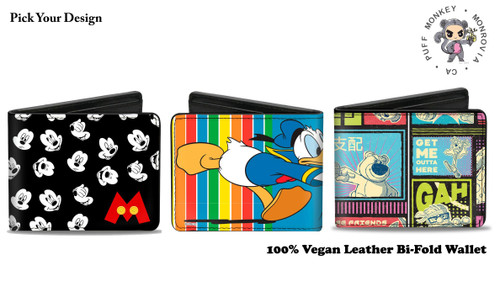 Disney Bi-Fold Vegan Leather Wallet Made in USA