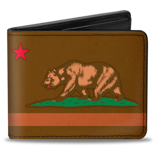 Brown Weathered California Flag Bi-Fold Wallet