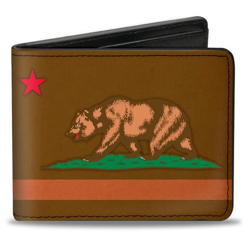 Brown Weathered California Flag Bi-Fold Wallet