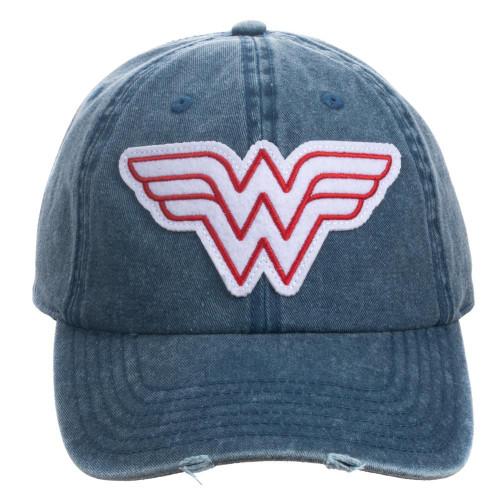 Wonder Woman: Pigment Red/White Dye Distressed Hat