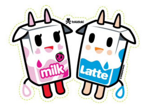 Tokidoki Latte & Strawberry Milk  5.5 in Sticker