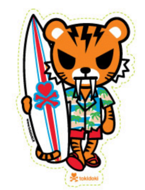 Tokidoki Shaka Surfer Tiger 4.5 in Sticker