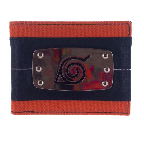 Naruto Shippuden Men's Metal Bi-Fold Wallet Hidden Leaf Headband
