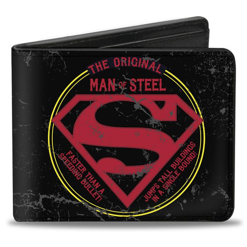 Superman Man of Steel Badge Men's Bi-Fold Wallet