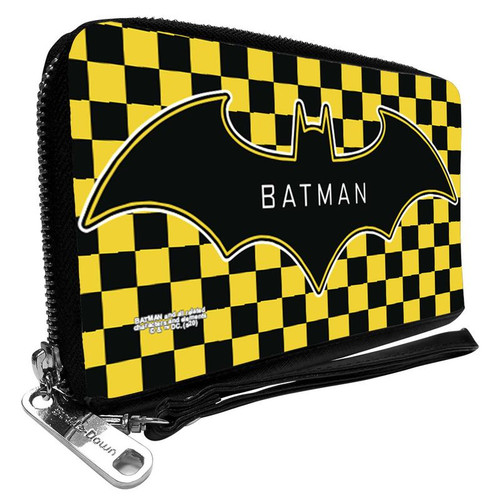 Batman Logo Checker Yellow Women's Zip Around Wallet