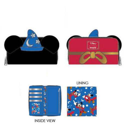 Disney Loungefly Fantasia Sorcerer Mickey Mouse Zip-Around Wallet