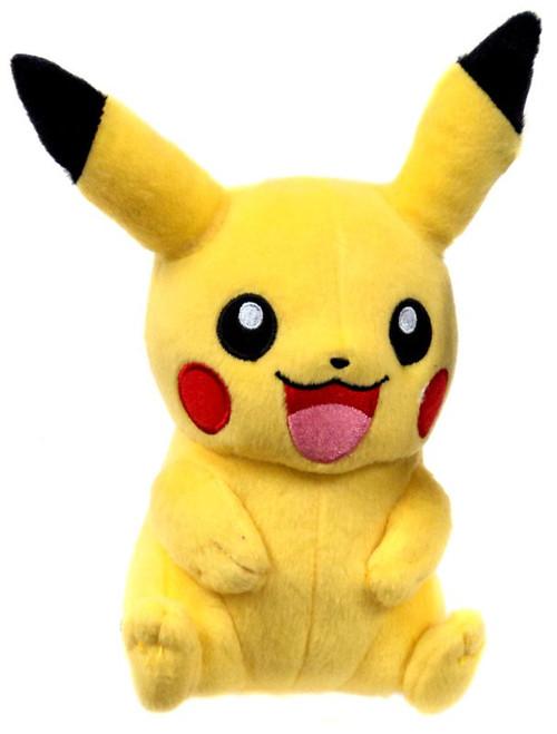 Pokemon Pikachu Smiling Open Mouth Arms Down Plush 8 in