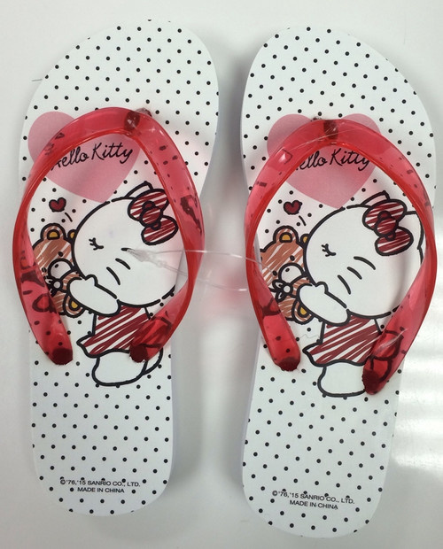 Hello Kitty Bear Kiss Flip Flops