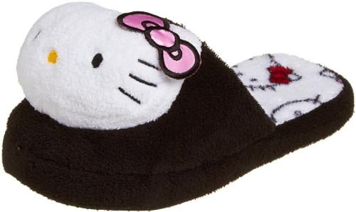 Hello Kitty Women's Super Soft Plush Slipper, Black