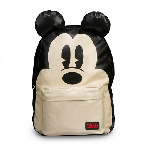 Mickey Mouse Big Face School Backpack with 3D Ears beige laminated canvas