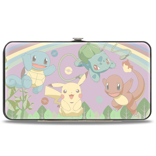 HINGED WALLET - PIKACHU & KANTO STARTER POKEMON UNDER RAINBOW MULTI PASTEL