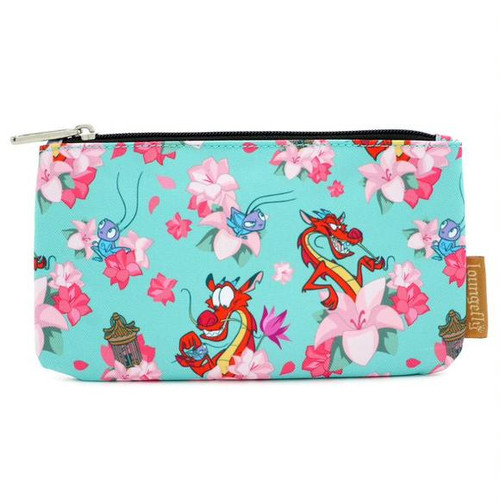 Disney Mulan Mushu and Cricket Floral Blue Pouch