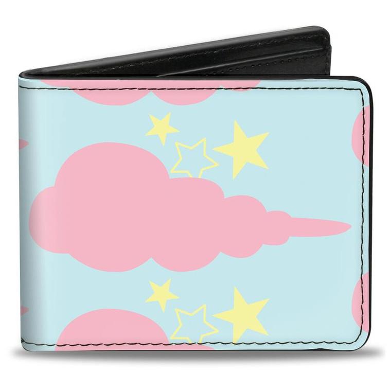 Aqua Pink Cloudy Starry Sky Bi-fold Wallet