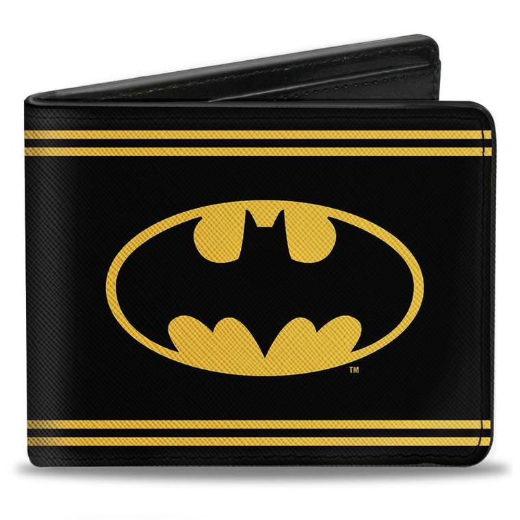 Batman Shield Double Striped Men's Bi-Fold Wallet