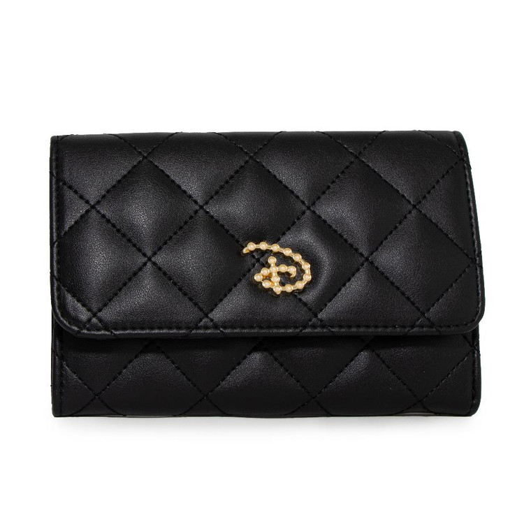Disney D Signature with Faux Pearls Fold Over Wallet