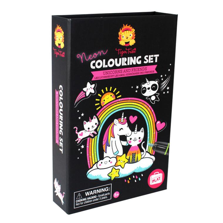 Schylling: Neon Colouring Set - Unicorn & Friends
