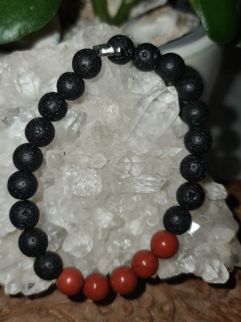 Bracelet 8mm - Agate Black & Jasper Red - 8mm