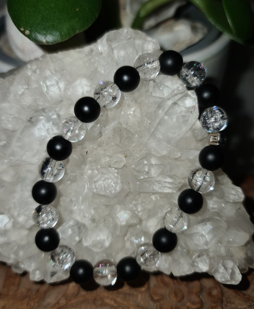 Bracelet 8mm - Agate Black Matt & Quartz