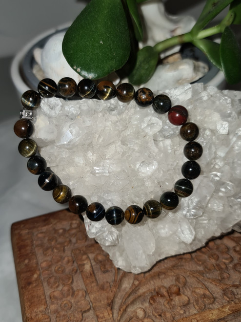 Bracelet 8mm - Tigers Eye Blue