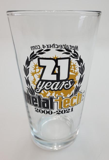 Metal Tech Pint Glass 21st Anniversary